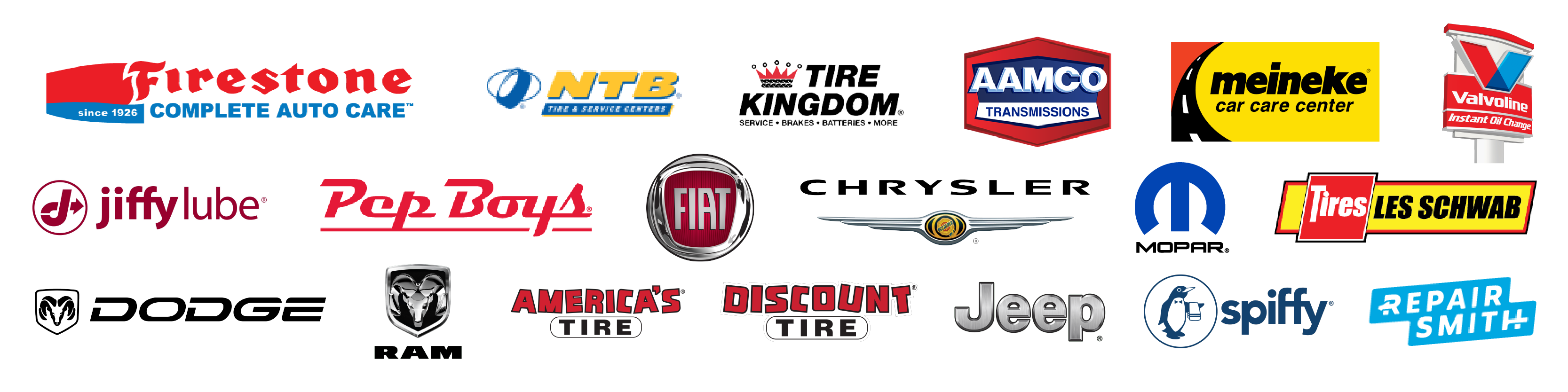 "Service available at ""Firestone, Sears, NTB, Tire Kingdom, AAMCO, Meineke, Jiffy Lube and more!"" or Partners logo ""Firestone, Sears, NTB, Tire Kingdom, AAMCO, Meineke, Jiffy Lube and more!"